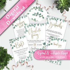 Printable custom wedding invitation set, Watercolor Eucalyptus Foliage Hello, thank you for visiting my shop, and congratulations on your upcoming wedding! If you would like to perform your own test print before ordering, please contact me for a free test print proof of the invitation seen in the images. ➖➖➖➖➖➖➖➖➖ The Watercolour Eucalyptus Collection The beautiful muted tones of this watercolour foliage range are perfect for a modern, minimal wedding. The hand painted soft jade c...