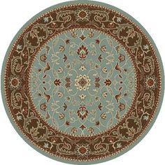 Concord Global Hampton Blue Round Indoor Woven Oriental Area Rug (Comm