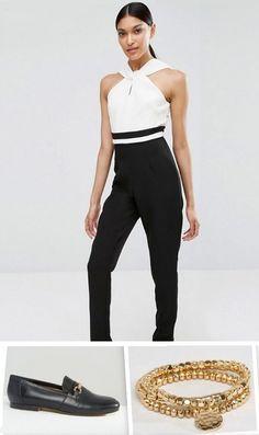 Black and white halter jumpsuit+black moccasins+gold bracelet. Summer Outfit 2016