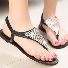 Sparkly Rhinestones Ladies Flat Beach Shoes Thong Sandal