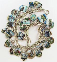 Vintage Charm Bracelet Collection - Old Silver & Enamel Shield Charm Bracelet