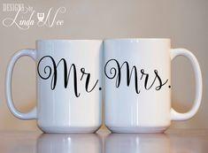 15 Ideas Diy Christmas Gifts For Couples Coffee Mugs Couples Coffee Mugs, Couple Mugs, Couple Gifts, Couple Things, Mr Mrs, Wedding Mugs, Wedding Shower Gifts, Gift Wedding, Trendy Wedding