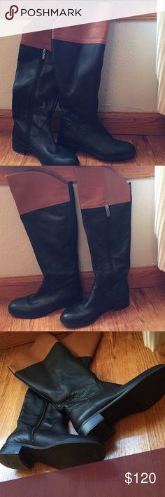 Black Boots Knee high boots black and cognac. Worn about 3 times indoor. Excellent condition just been sitting in my closet. H by Halston Shoes Over the Knee Boots