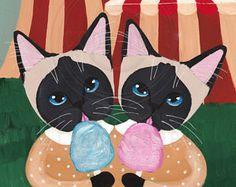 Siamese tweeling en suikerspin origineel kat volkskunst schilderij
