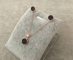 12 8 6 7 9 5 4 EXPRESS SHIPPING Platinum Black Druzy Necklace /& Stud Earrings Jewelry Set  10 mm gold  Bridesmaid gift set of 3