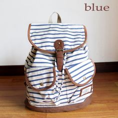 Latest Striped Two-pocket Canvas Leisure Backpacks