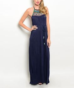Look at this #zulilyfind! Forever Lily Navy Embellished Halter Maxi Dress by Forever Lily #zulilyfinds