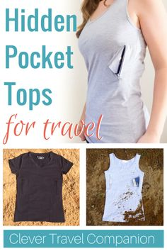 Clever Travel Companion Theft Proof Clothing Another great way to hide your money and passport when you travel! Clever Travel Companion makes hidden pocket tops and base layers for hidi Her Packing List, Packing Tips For Travel, Travel Advice, Travel Ideas, Diy Voyage, Techniques Textiles, Travel Clothes Women, Travel Clothing, Diy Clothing