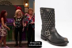 """Jennette McCurdy as Sam Puckett wears these Frye Jenna Disc Short Boot, in this weeks episode of Shake it up """"#TheBritBrats""""."""