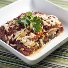 Mock Lasagna - the flavor of lasagna without the gluten - plus a healthy serving of leafy greens! #foodgawker