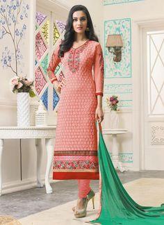 Buy designer salwar kameez and indian salwar kameez online. Order this georgette peach embroidered and resham work churidar designer suit.