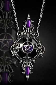 Mystical Mirror Purple Pendant Necklace by Restyle