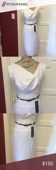🎉HP🎉 $ firm$ gorgeous white black halo dress 👗 Gorgeous dress new with tags Black Halo Dresses Midi