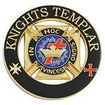 Knights Templar Cross & Crown Black & Gold Round Car Auto Emblem - 3
