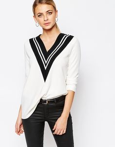 Image 1 of Boohoo Colour Block V-Neck Sweater