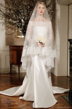 Off shoulder wedding dresses with long sleeves and lace bodices.