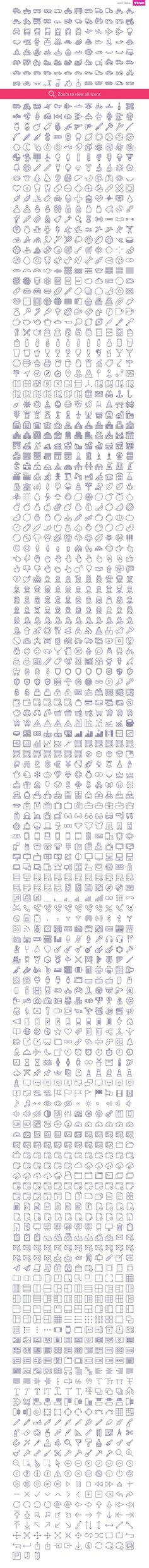 Unigrid contains 1791 outline vector icons divided into following categories…