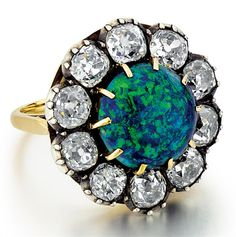 Vintage Black Opal with Rose Cut Diamonds in silver and gold - Couture Rocks Fine Jewelry