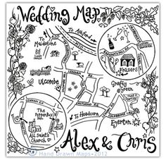 awesome hand drawn maps for wedding stationery