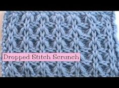 "Dropped Stitch Scrunch CO a multiple of 3 stitches, plus 2 Rows 1, 3, and 5 (WS): K2, *P1, K2*, Rows 2 and 4: P2, *K1, P2*, Row 6: P2, *allow next stitch (a knit) to drop off the left needle, and unravel it for 4 rows, so that there are 4 ""ladder runs"" above it. Put your right needle into that stitch from front to back, and knit through that stitch. After you complete the stitch, you'll see that all of the ""ladder runs"" are also caught up in the stitch, creating the scrunch, P2*, repeat"