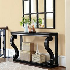 Thinking about this in black as a kitchen side table. A place to put keys, etc.  Ballard.  Benedetta Console - 58 Inch