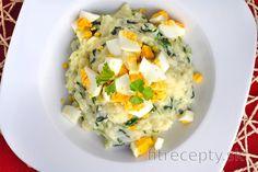 Ryža so špenátom, vajíčkami a kozím syrom No Cook Meals, Risotto, Tofu, Good Food, Food And Drink, Cooking Recipes, Eggs, Breakfast, Healthy