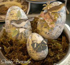 Shabby Brocante: Botanical Sheet Music Easter Eggs