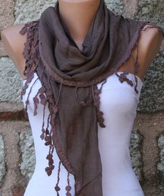 Brown  Shawl Scarf  Headband Necklace Cowl by fatwoman on Etsy, $17.00
