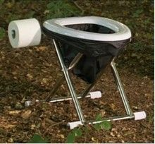 The Travel Toilet - supports bio bags. Folds flat.