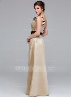 A-Line/Princess One-Shoulder Floor-Length Satin Bridesmaid Dress With Sash Flower(s) (007037241)