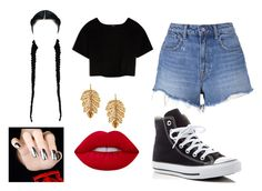 """Untitled 5"" by iiqueenchrissy ❤ liked on Polyvore featuring Max&Co., T By Alexander Wang, Converse, Lime Crime and Marika"