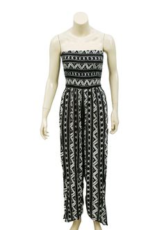 8d70aef0600 4851 New Urban Outfitters Tie Knot Smocked Printed Black Jumpsuit Extra  Small XS  fashion