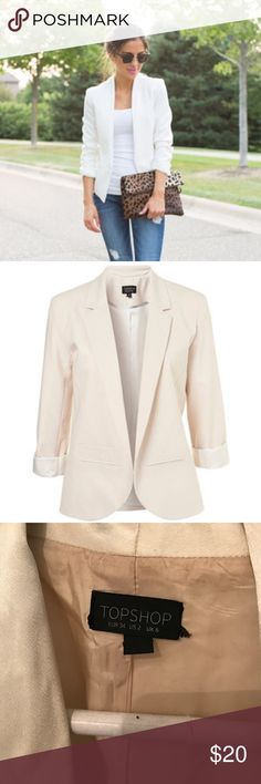 Topshop White Boyfriend Blazer Super cute boyfriend blazer with Button closure, two front pockets and shiny lapels. Will look much sharper after an iron! Topshop Jackets & Coats Blazers