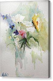 Vase Of Flowers Canvas Print by Kathleen Hartman