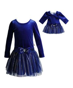 Look what I found on #zulily! Blue Sequin A-Line Dress & Doll Outfit - Girls #zulilyfinds