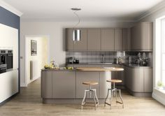 Magnet Luna Matt Light Grey Kitchen Luna Cashmere Kitchen Style - Matt grey kitchen units