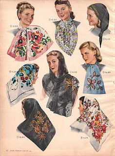 New vintage style scarves in vintage colors and styles. Head scarf, neck scarf, and hair wraps in summer and winter designs. Fashion Moda, 1940s Fashion, Vintage Fashion, Womens Fashion, Classic Fashion, Fashion Black, Victorian Fashion, Fashion History, Fashion Tips
