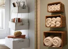 Hanging storage. These are great when you are limited on cabinet space or have no linen closet in your bathroom.