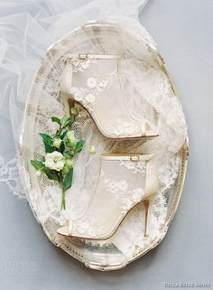 Belle by Joy Proctor for Bella Belle 'Enchanted' bridal collection. Mesh peep toe wedding shoes adorned with delicate mix of silk and tulle petals. Peep Toe Wedding Shoes, Wedding Boots, Wedding Heels, Winter Wedding Shoes, Bridal Heels, Bridal Lace, Lace Wedding, Bridal Style, Belle Bridal