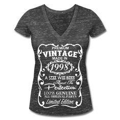 Ideas de regalos de cumpleaños 18 para mujeres única camiseta - hecho en 1998 camiseta - Memorable V-cuello camisa - regalo de cumpleaños para ella