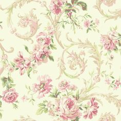 Rococco Floral Wallpaper in Pink and White design by York... ($43) ❤ liked on Polyvore featuring home, home decor, wallpaper, wallpaper samples, metallic wallpaper, flowered wallpaper, flower home decor, flower pattern wallpaper and flower wallpaper