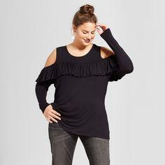 Women's Plus Size Ruffled Cold Shoulder Blouse - No Comment - Black 3X
