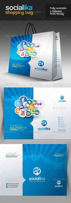 Socialika Social Media Shopping Bag - #Packaging Print Templates Download here: https://graphicriver.net/item/socialika-social-media-shopping-bag/2767872?ref=alena994