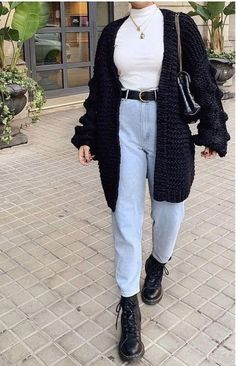 Grunge Winter Outfits, Jeans Outfit Winter, Warm Outfits, Casual Fall Outfits, Winter Fashion Outfits, Fall Winter Outfits, Look Fashion, Trendy Outfits, Hipster Outfits For Women