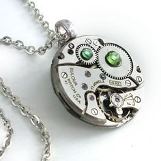 Unisex Steampunk and Peridot Pendant Necklace by TrashAndTrinkets, $48.00