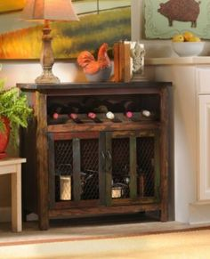 The one cabinet can be made to look similar to this.   Elise Wood Wine Cabinet | Kirkland's