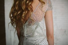 The Anna Campbell Vienna Dress, featuring hand-embellished sparkling beading, low back and v-neckline | Old Hollywood glamour | Vintage-inspired wedding dress | Shimmering bridal gown | As featured in the A&Be Bridal style book vol. 7