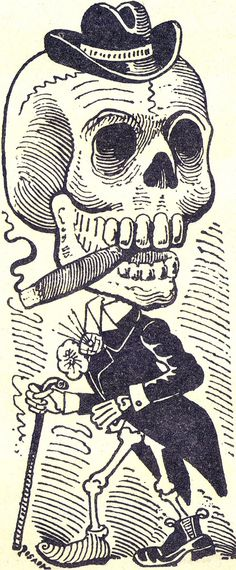 Skull 284 © Jose Guadalupe Posada, graveur et illustrateur mexicain Skeleton Art, Day Of The Dead Skull, Danse Macabre, Mexican Folk Art, Mexican Skulls, Skull And Bones, Memento Mori, Black White, Skull Art
