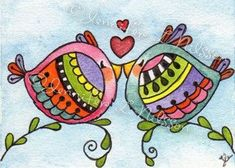 ACEO Print Love Birds whimsical bird art card by JLNilsson on Etsy Tangle Doodle, Doodles Zentangles, Doodle Drawings, Doodle Art, Bird Doodle, Gravure Photo, Wal Art, Doodle Inspiration, Whimsical Art