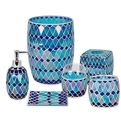 Unique turquoise bathroom accessories for decoration for Aqua mosaic bathroom accessories